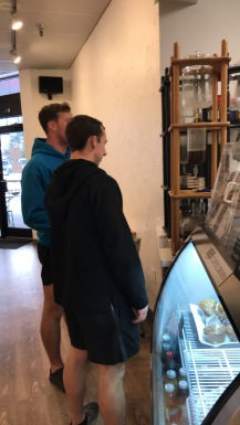 The boys amazed by a cold brew maker
